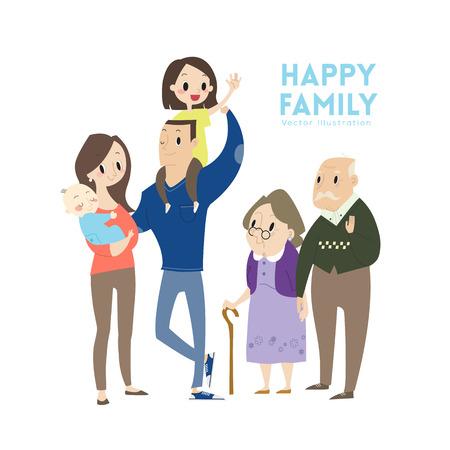 Grande famiglia felice con i genitori dei bambini e nonni cartone animato Archivio Fotografico - 42737608