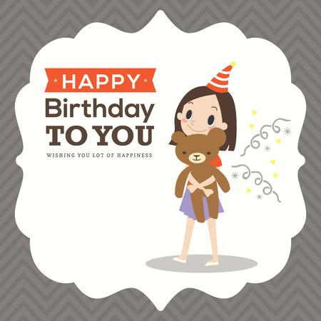 happy birthday girl: Happy birthday card with a girl hugging teddy bear doll cartoon