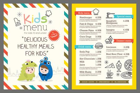 귀여운 다채로운 어린이 식사 메뉴 템플릿 일러스트
