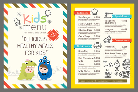 kids eating: Cute colorful kids meal menu template