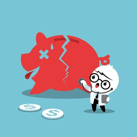 piggy: doctor examining a broken piggy bank financial concept illustration