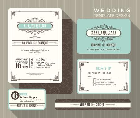 düğün: Vintage Art deco düğün davetiyesi set tasarım şablonu yer kart tepkisi kart tarih kartını kaydetme Çizim