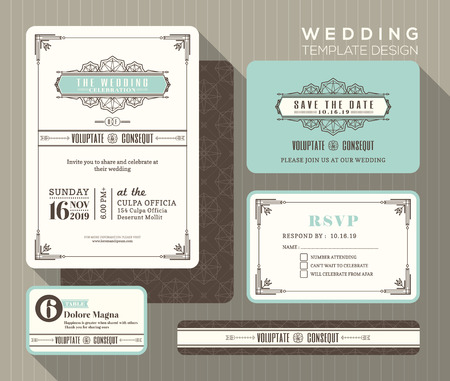 date: Vintage art deco wedding invitation set design Template place card response card save the date card