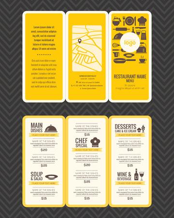 Modern Restaurant menu design pamphlet template in A4 size Tri fold Illustration