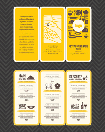 Modern Restaurant menu design pamphlet template in A4 size Tri fold Stock Illustratie