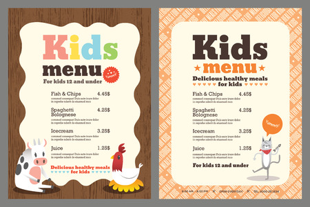 chef caricatura: Niños coloridos comida Linda plantilla de menú con animales de dibujos animados Vectores