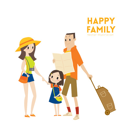 Happy modern urban tourist family with parents and child ready for vacation cartoon illustration Vectores