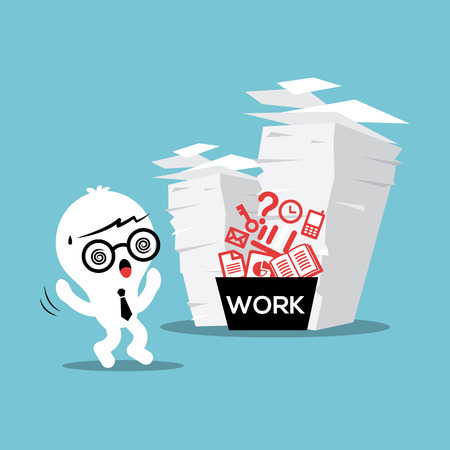 work load: Business man with stack of paper work load conceptual illustration