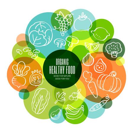 ensalada de frutas: Frutas y verduras garabatos ilustración conceptual sanos orgánicos