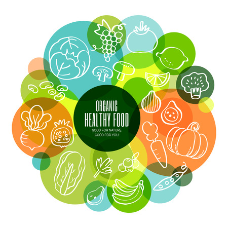 fresh fruits: Organic healthy fruits and vegetables conceptual doodles illustration