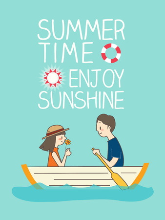 teenagers love: illustration of romantic young couple boating with summer time enjoy sunshine text in background