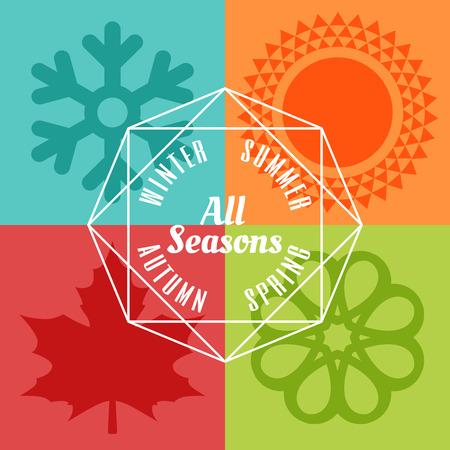 cuatro estaciones icono símbolo ilustración vectorial Vectores