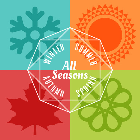 cuatro elementos: cuatro estaciones icono símbolo ilustración vectorial Vectores