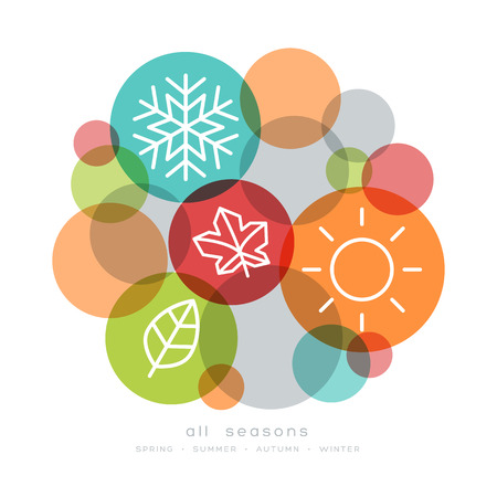 four seasons icon symbol vector illustration Çizim