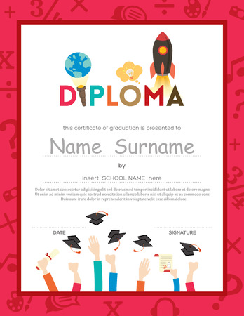 graduacion caricatura: Kids School Diploma Plantilla fondo certificado Vectores