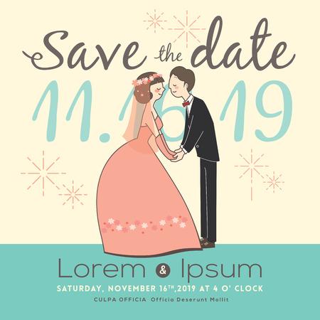 cute groom and bride cartoon save the date wedding invitation card