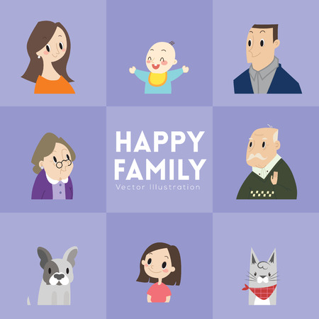 happy family: big happy family portrait with parents children grandparents and pets vector cartoon illustration Illustration