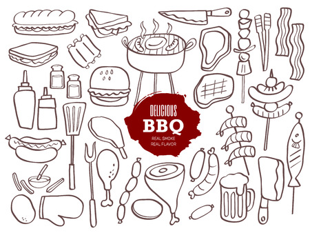 bbq: Set of hand drawn BBQ doodles
