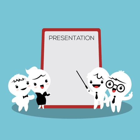 presentation screen: business people cartoon presenting white billboard with empty space presentation screen Illustration