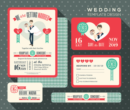 bride and groom illustration: groom carrying bride cartoon retro wedding invitation set design Template Vector place card response card save the date card