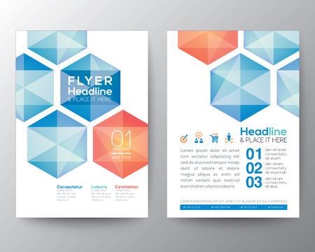 抽象的な六角形ポスター パンフレット チラシ デザイン A4 サイズでレイアウト ベクトル テンプレート  イラスト・ベクター素材