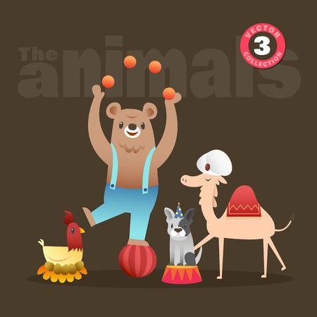 cartoon camel: Set of cute animals cartoon illustration including bear hen french bulldog and camel