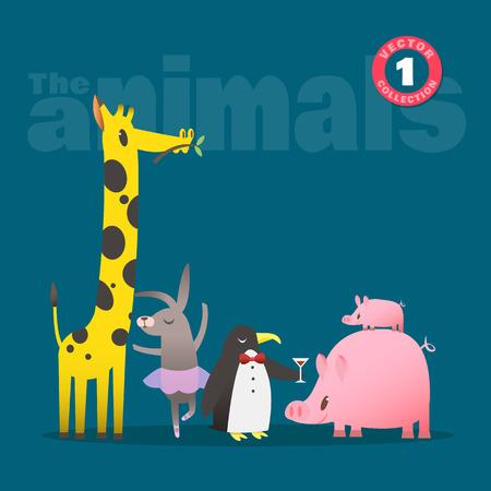 jirafa cute: Conjunto de animales lindos dibujos animados ilustraci�n incluyendo cochinillo conejo jirafas y ping�inos Vectores