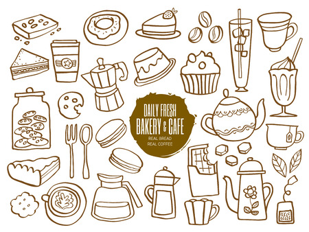 coffee and cake: Set of hand drawn sweets bakery cafe coffee drinks doodles Illustration