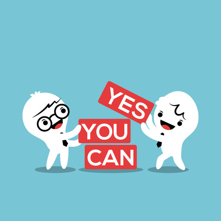 can yes you can: businessmen with YES YOU CAN word in block inspiration motivation concept vector illustration