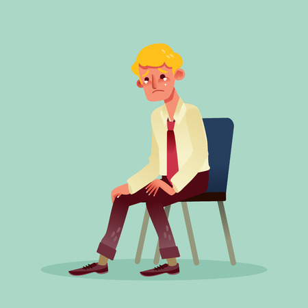 alone man: hopeless business man sitting on a chair and crying vector cartoon illustration Illustration