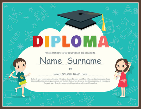 Primary School Kids Diploma certificate background design template