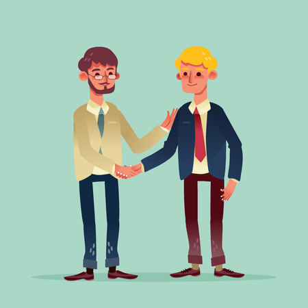 young: two businessman shaking hands vector illustration cartoon character