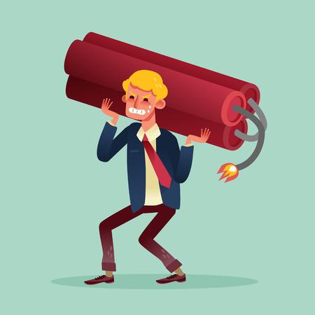 heavy lifting: business man lifting heavy dynamite vector cartoon illustration Illustration