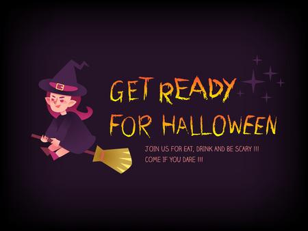 ready: Get ready for halloween text with witch on the broom cartoon illustration