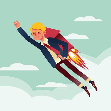 jetpack: businessman flying with rocket backpack cartoon illustration