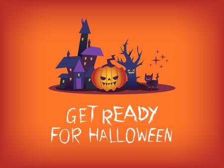 get ready: Preparatevi per il testo di Halloween con la zucca spaventoso casa stregata illustrazione cartoon