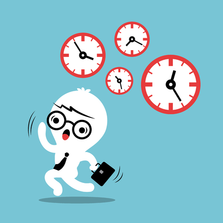 time out: busy concept running out of time business cartoon illustration