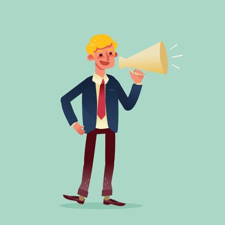 mega phone: businessman speaking through megaphone cartoon illustration Illustration