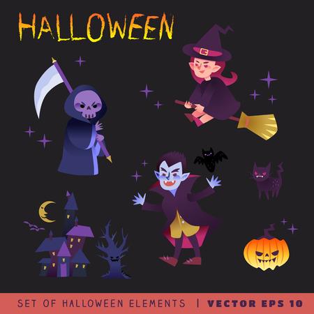 monsters house: Halloween characters design vector cartoon illustration Illustration