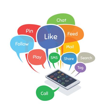 medios de informaci�n: smartphone con burbujas concepto de medios sociales (como, seguir, pin, compartir, charlar, alimentaci�n) aisladas sobre fondo blanco
