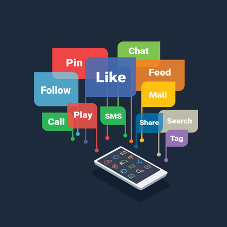 smartphone with social media concept bubbles (like, follow, pin, share, chat, feed) isolated on dark background Illustration