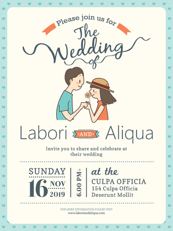 bride and groom illustration: wedding invitation card template with cute groom and bride cartoon