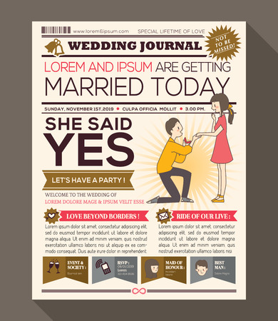 news event: Cartoon Newspaper Journal Wedding Invitation Vector Design Template with illustration of a man making propose with wedding ring