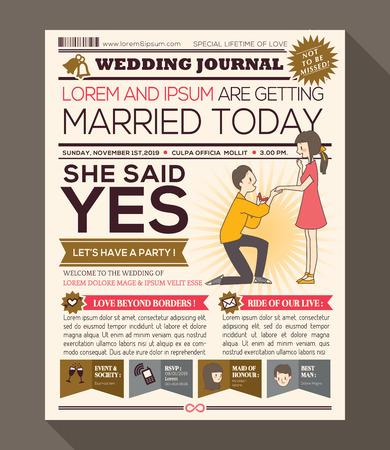 periodicos: Invitación de la boda de la historieta del periódico Diario del vector plantilla de diseño con la ilustración de un hombre de la toma de proponer con el anillo de boda