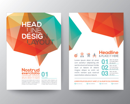 polygons: Abstract Poster Brochure Flyer design Layout vector template in A4 size with brain shape low polygon graphic element