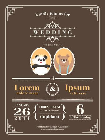 Niedlich Vintage Hochzeitseinladungsentwurf Vorlage