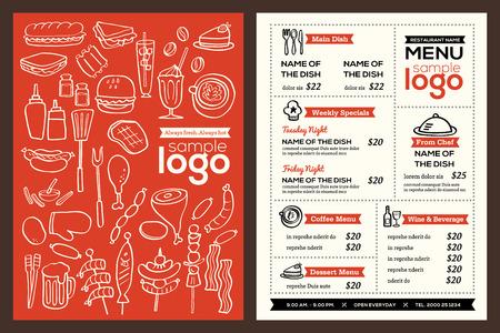 pamphlet: Modern Restaurant menu cover design pamphlet vector template with foods doodle illustration Illustration