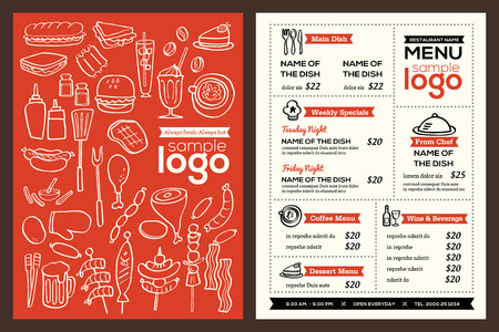 chef caricatura: Moderno diseño de la cubierta del menú del restaurante folleto de plantilla de vectores con alimentos ilustración Doodle