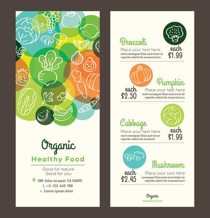 verduras: Comida sana org�nica con frutas y verduras de garabatos ilustraci�n dise�o de la plantilla para el men� flyer folleto