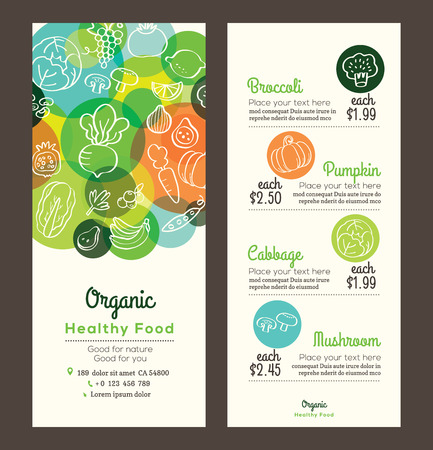 leaflet: Organic healthy food with fruits and vegetables doodles illustration design template for menu flyer leaflet